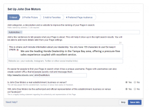 Facebook advanced set up