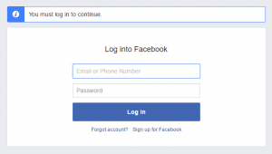 Facebook login to continue